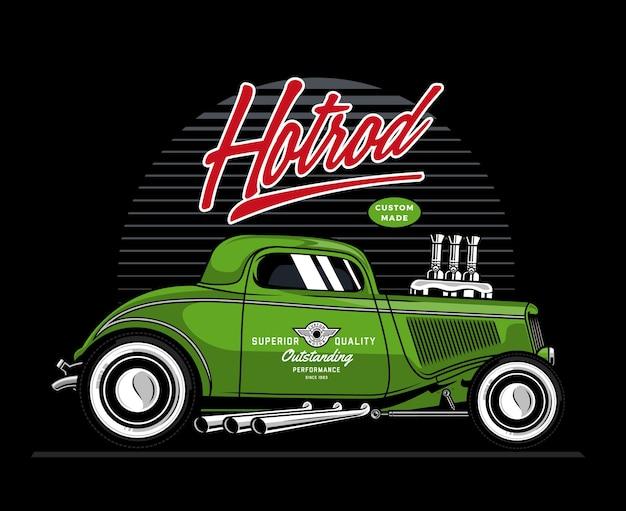 Ilustração carro verde hotrod