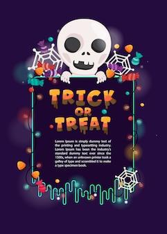 Ilustração cartão de convite de halloween. modelo de dia das bruxas com caveira e decoração assustadora