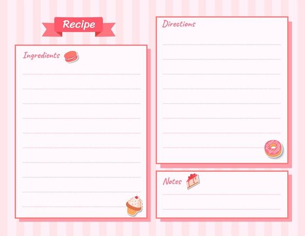 Ilustração cartão de receita de padaria de sobremesa em fundo rosa.