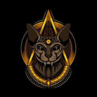 Ilustração cat faraó esfinge
