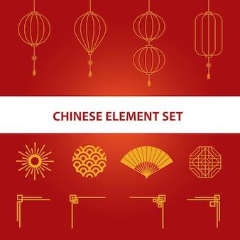 Ilustração chinesa com design de elementos