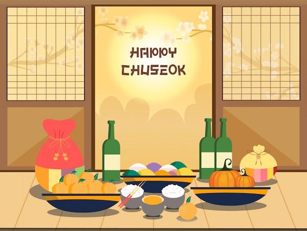 Ilustração chuseok. árvore de caqui na visão de lua cheia