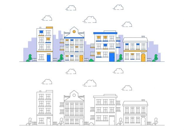 Ilustração, cidade, linha