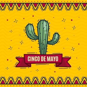 Ilustração cinco de mayo desenhada à mão