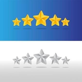 Ilustração cinco estrelas ouro e prata