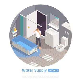 Ilustração circular isométrica dos problemas do sistema de abastecimento de água e banheiro