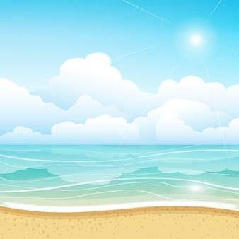 Ilustração clara da vista da praia