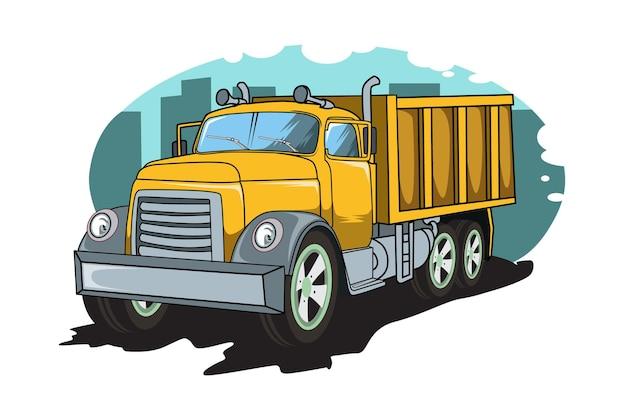 Ilustração clássica vintage de caminhão grande desenho à mão