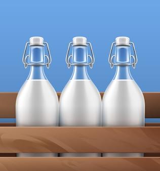 Ilustração closeup vista de garrafas de vidro