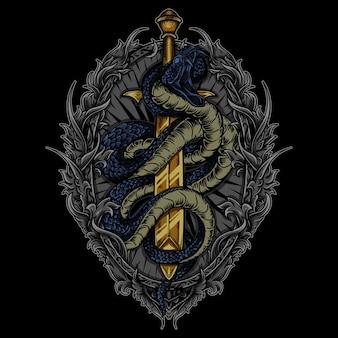 Ilustração cobra e espada em ornamento de gravura