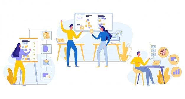 Ilustração cognitiva teamwork task execution flat.