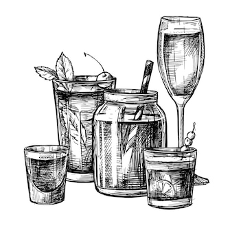 Ilustração - coleção de coquetéis alcoólicos e não alcoólicos.