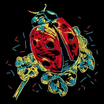 Ilustração colorida abstrata de joaninha