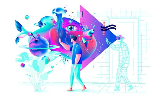 Ilustração colorida abstrata xtreme. vr tecnologia homem gamer cyberpower óculos de realidade virtual