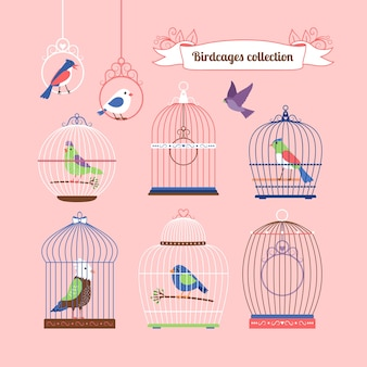 Ilustração colorida bonita de pássaros e gaiolas