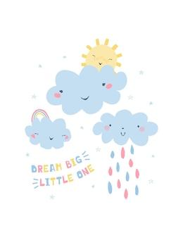 Ilustração colorida com arco-íris, nuvens, sol e letras de mão sonham grande pequeno para crianças.