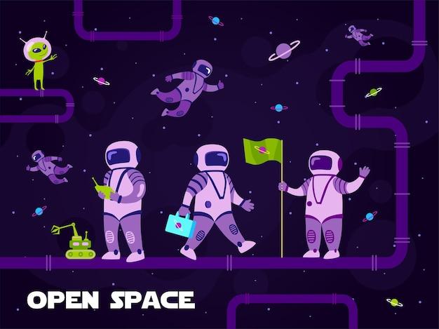 Ilustração colorida com astronautas fazendo pesquisas