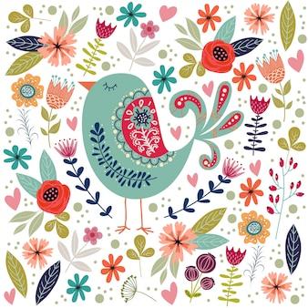 Ilustração colorida com belo pássaro folclórico abstrato e flores.