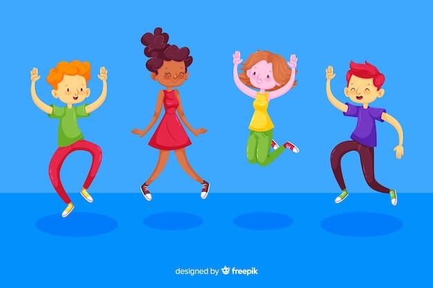 Ilustração colorida com crianças pulando