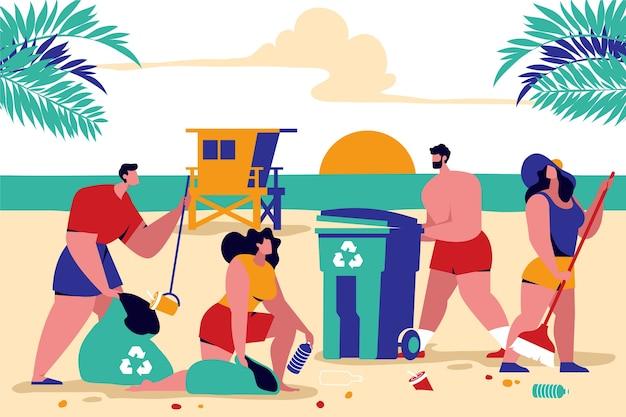 Ilustração colorida com pessoas limpando praia