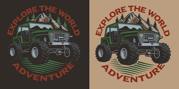 Ilustração colorida com um suv. perfeito para a camisa s.