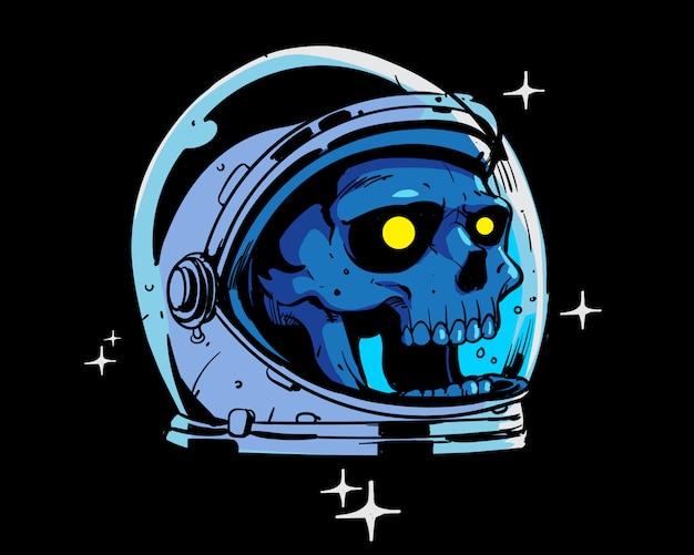 Ilustração colorida crânio astronauta