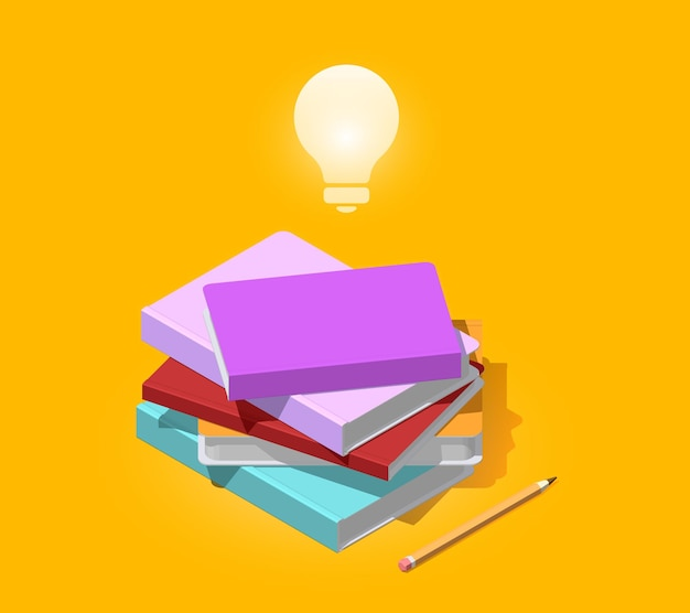 Ilustração colorida criativa de pilha isométrica de livros com lápis e lâmpada