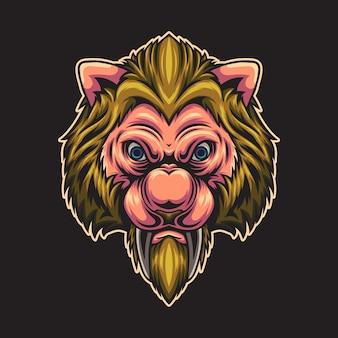 Ilustração colorida da cabeça de lobo