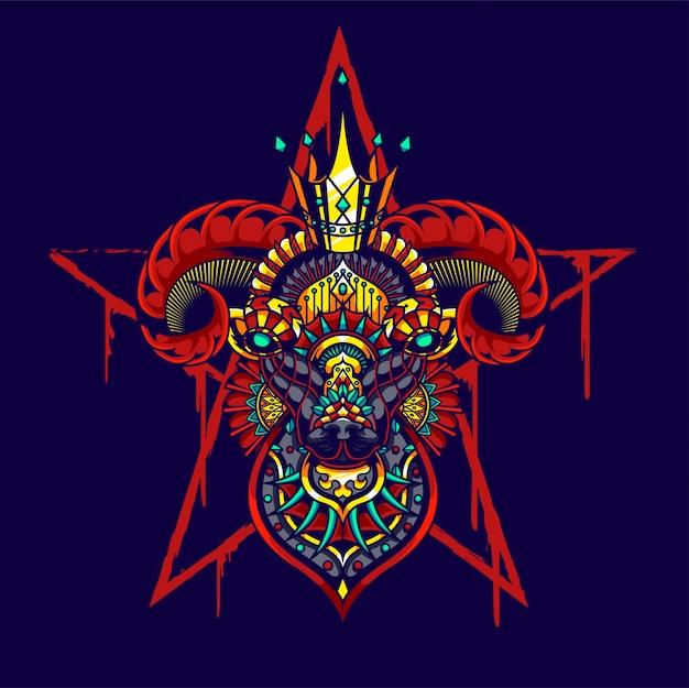 Ilustração colorida da cabra, zentangle da mandala e projeto do tshirt