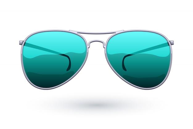 Ilustração colorida da forma do ícone dos óculos de sol do aviador. símbolo dos cuidados com os olhos.