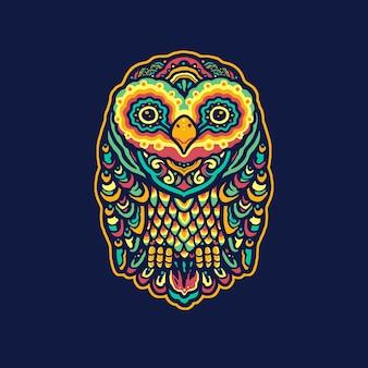 Ilustração colorida da mandala da coruja