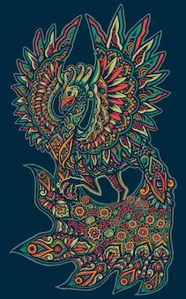 Ilustração colorida da mandala do pavão