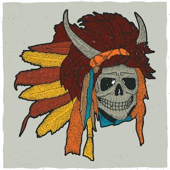 Ilustração colorida da máscara do crânio indiano