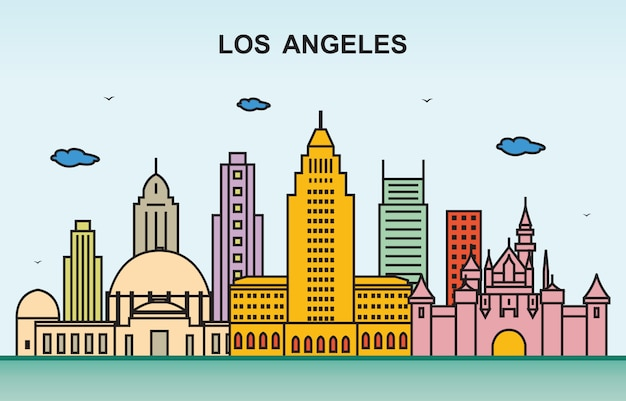 Ilustração colorida da skyline da arquitectura da cidade da excursão da cidade de la