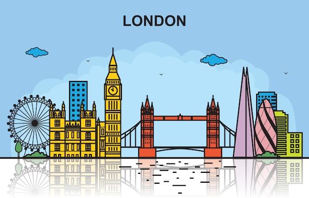 Ilustração colorida da skyline da arquitectura da cidade da excursão da cidade de londres