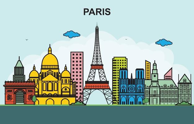 Ilustração colorida da skyline da arquitectura da cidade da excursão da cidade de paris