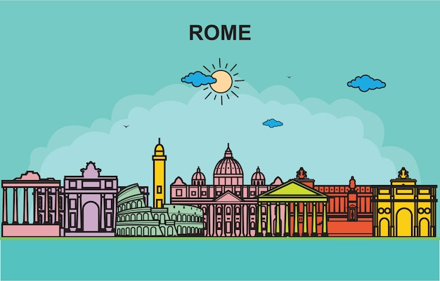 Ilustração colorida da skyline da arquitectura da cidade da excursão da cidade de roma