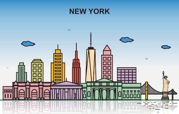 Ilustração colorida da skyline da arquitectura da cidade da excursão da nova iorque