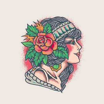 Ilustração colorida da tatuagem da senhora da velha escola