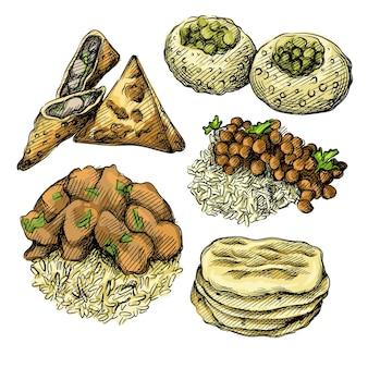 Ilustração colorida de aquarela ilustração de mão desenhada conjunto de culinária indiana.
