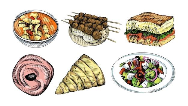 Ilustração colorida de aquarela. mão-extraídas conjunto de ilustrações de cozinha grega.