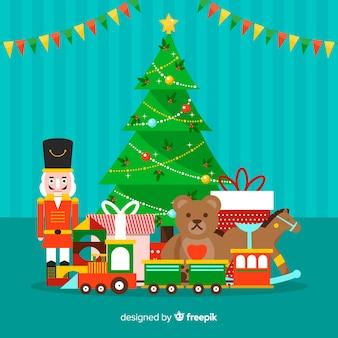 Ilustração colorida de brinquedos de natal