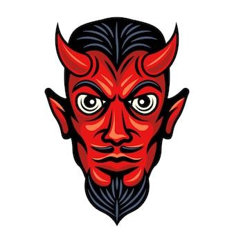 Ilustração colorida de cabeça de diabo com chifres