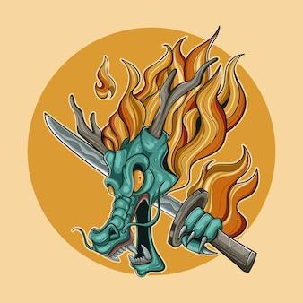 Ilustração colorida de cabeça de dragão katana