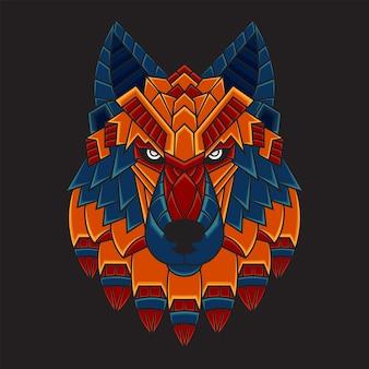 Ilustração colorida de cabeça de lobo