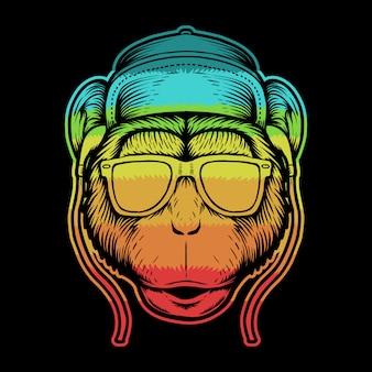 Ilustração colorida de cabeça de macaco