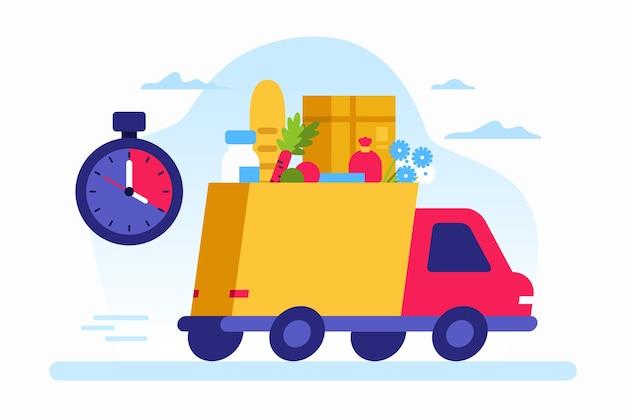 Ilustração colorida de caminhão contemporâneo veloz dirigindo na rua