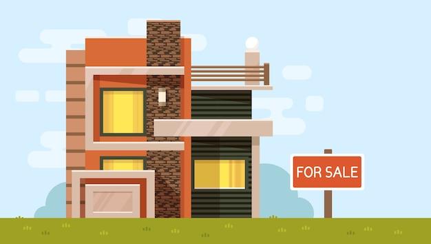 Ilustração colorida de casa com placa à venda