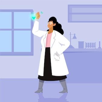 Ilustração colorida de cientista feminina