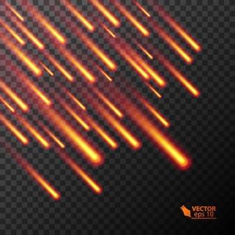 Ilustração colorida de cometas em chamas